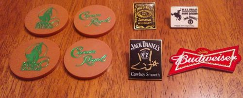 Salinas Rodeo chips and pins and patch. Crown Royal tokens & Jack Daniels pins