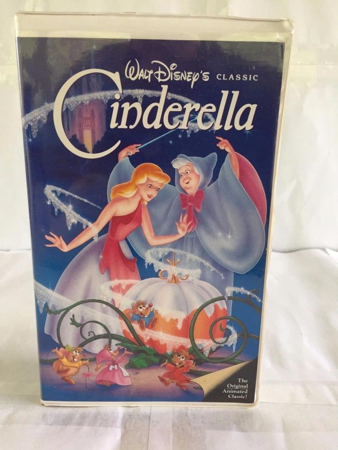 VINTAGE VHS TAPE BLACK DIAMOND CINDERELLA DISNEY MOVIE CLAMSHELL CASE