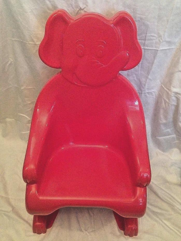 Vintage Syroco Childs Plastic Elephant Chair Red Very Rare Nice Condition Animal