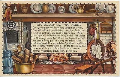 VINTAGE SPINNING WHEEL NEW ENGLAND SALT COD FISH DINNER RECIPE 1 APPLES CAT CARD