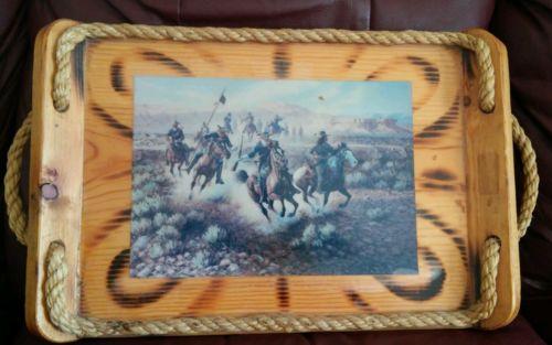 Vintage Westren/Ranch Rustic Cowboy Decor Serving Tray/Wall Decor