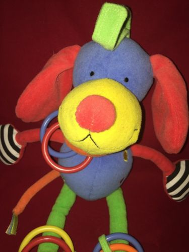 JELLY Kitten Primary Colors HANGING Toy PLUSH Chime Crinkle Squeak DOG PUPPY EUC