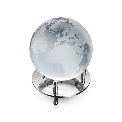 Dalvey Desk Globe & Stand - Polished Stainless Steel Base - Crystal Glass