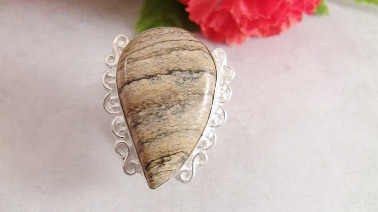 Women's Ring Size 7.75-8.0 Picture Jasper Gemstone Sterling 925 Shades Brown