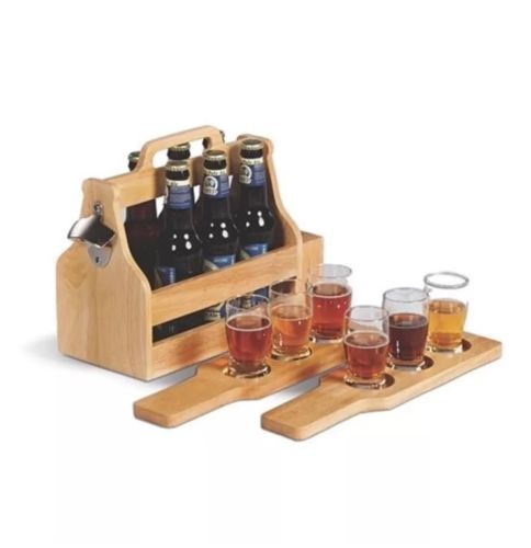 Picnic Plus Brew Fest 6 Pack Holder Wood 6 Pack Craft Beer Tasting & Carry Set