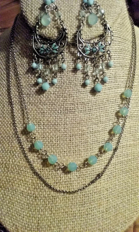 Sterling Silver Bead Necklace Earrings Set Vintage Artisan Made