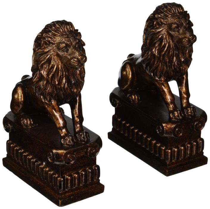 Bronze Color Lion Antique Look Pair of Decorative Lion Bookends Set