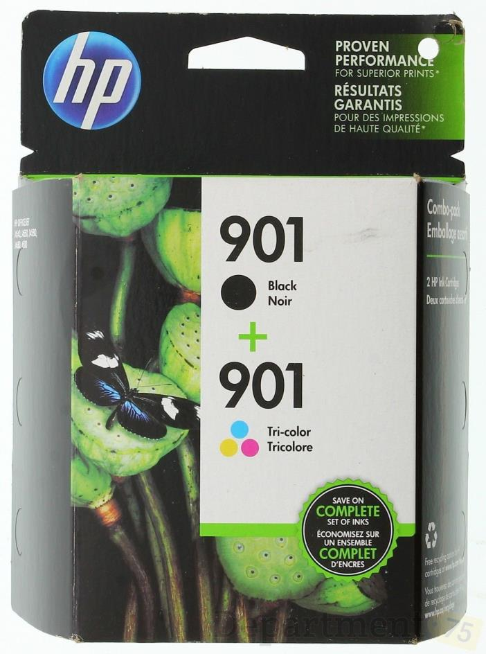 HP Combo Pack Officejet Black 901 + Tri-Color 901 Ink Cartridges  exp 2018 new