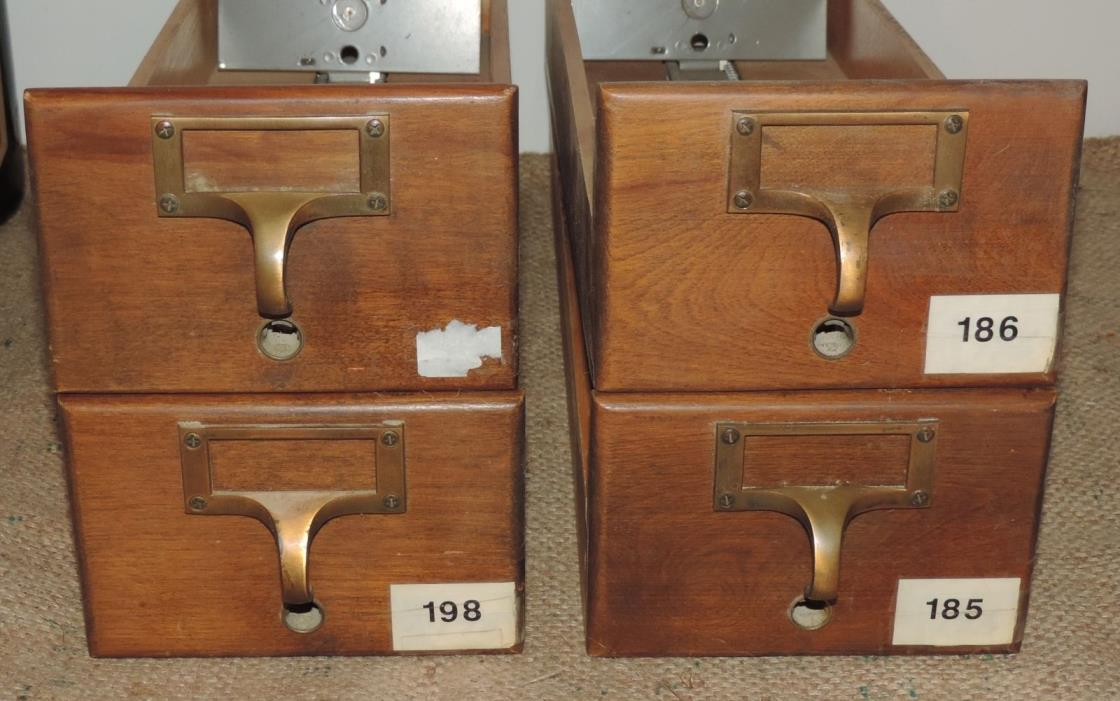 4 Vintage Index Card Catalog Dovetail Oak Wood Cabinet Drawers School/Library