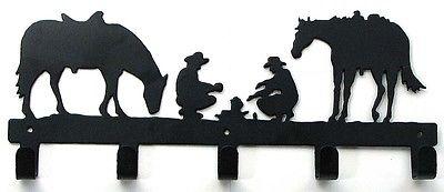 Metal Two Horses & Cowboys  Wall Hook Hanger Coat  Western Decor