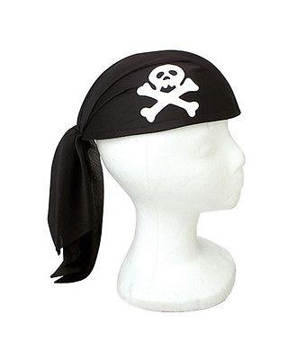 Black Unisex Mens Womens Pirate Skull Scarf Do Rag Hat Bandana Accessory