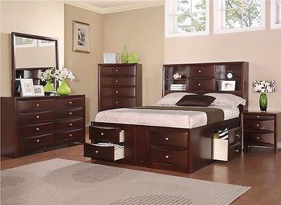 Poundex Furniture F9234CK California King Bed Nightstand Dresser Mirror Chest