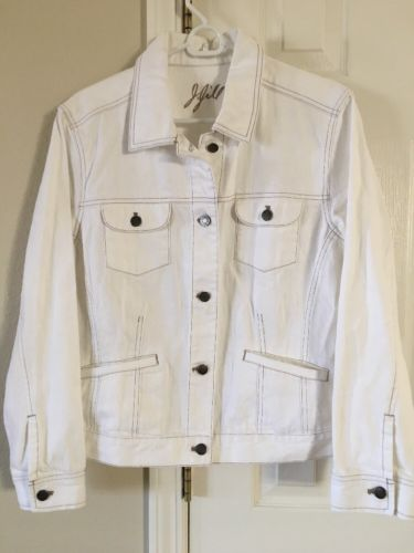 J. Jill Women's White Denim Jean Jacket NWT Size L