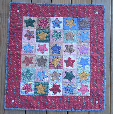 Vintage Baby Quilt Wall Hanging Red, Blue Stars