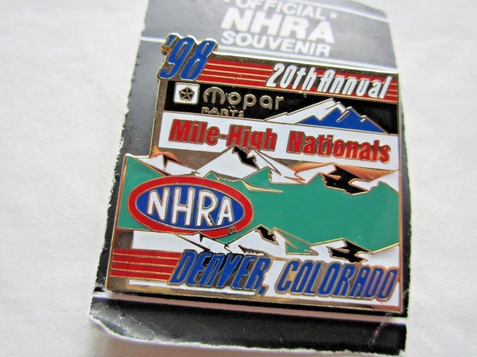 NHRA 1998 20th Annual Mopar Mile High Nationals Denver CO Drag Racing Event Pin