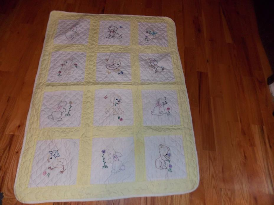 Cat Dog Baby Quilt Hand Embroidered All Hand Quilted