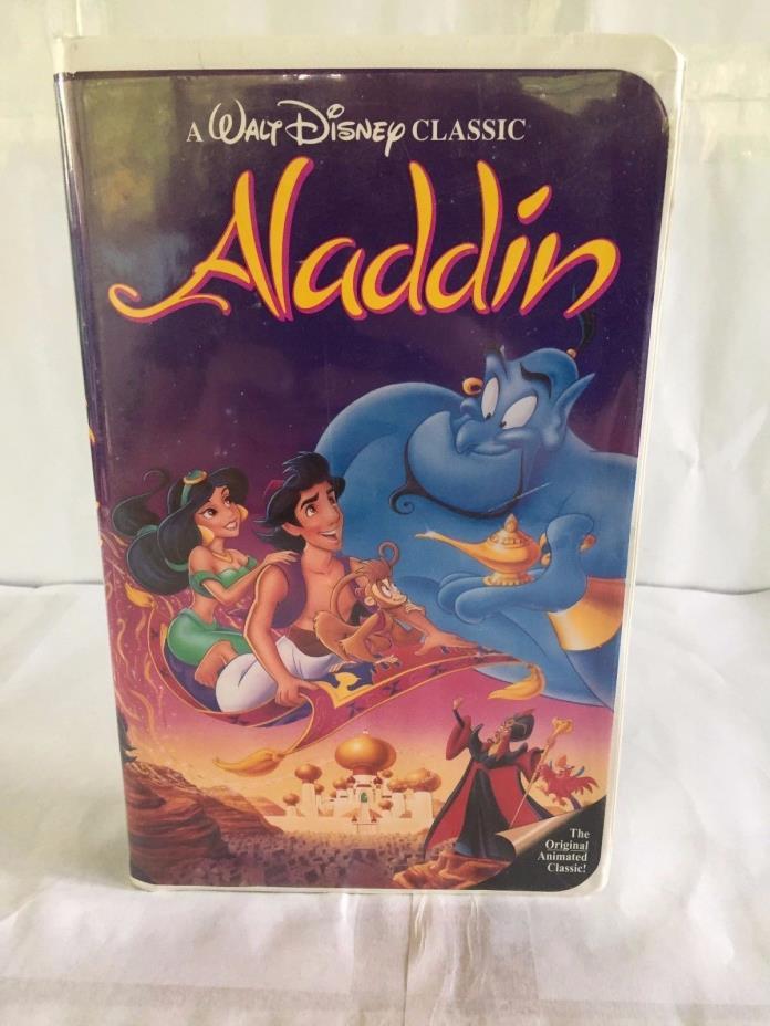 VINTAGE VHS TAPE BLACK DIAMOND ALADDIN DISNEY MOVIE CLAMSHELL CASE