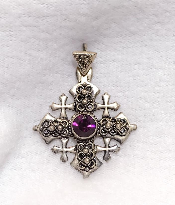 LOVELY ORNATE VINTAGE 900 SILVER JERUSALEM LARGE CROSS PENDANT NECKLACE