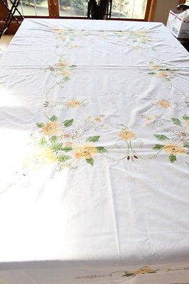 VINTAGE HANDMADE NEEDLEWORK AND QUILT TABLE CLOTH FLOWER BASKET MOTIF