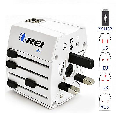 World Travel Power Plug Adapter with Dual USB Charger - M8 By OREI