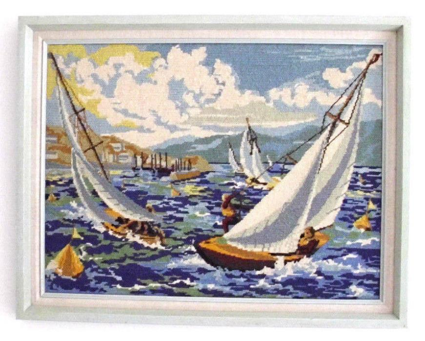 SAILBOAT Wall Art Artwork NEEDLEPOINT Sailboats Nautical Seascape RACING Vintage