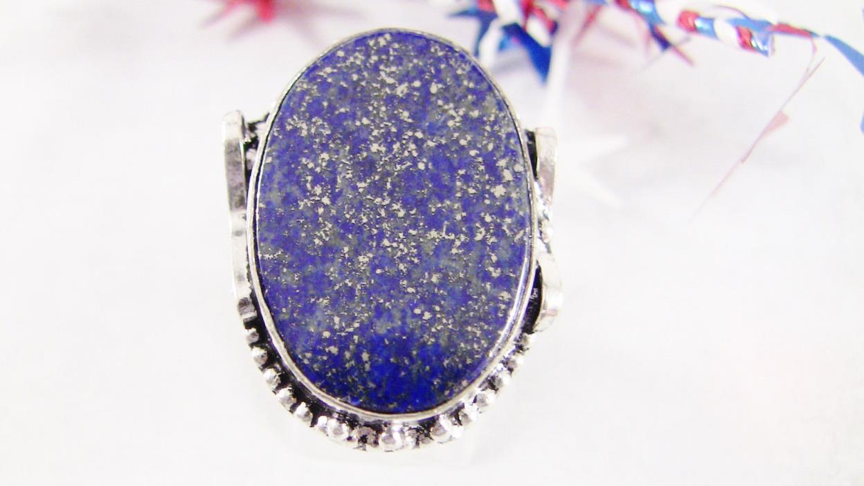 Women's Ring Size 7.75--8 Blue Lapis Lazuli Gemstone Sterling Silver 925 New