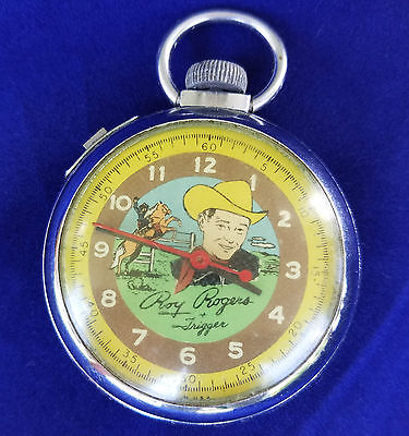 VINTAGE INGRAHAM ROY ROGERS & TRIGGER DOLLAR POCKET WATCH RUNNING NICE