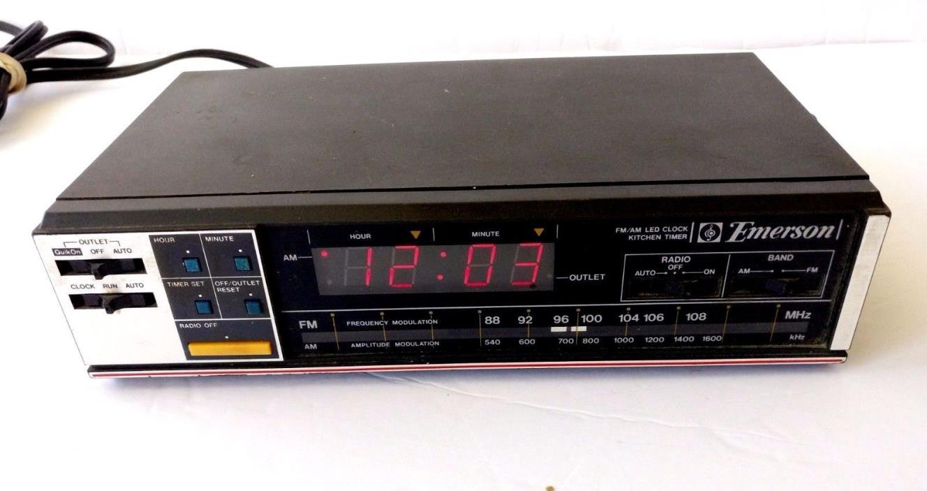Vintage Emerson RK5000 Cabinet/SHOP AM/FM Clock Radio /Timed AC Appliance Outlet