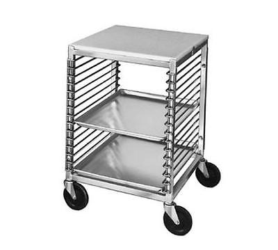 CHANNEL MANUFACTURING MOBILE ALUMINUM WORK TABLE W/ RACK FOR 15 FULL SIZE PANS -