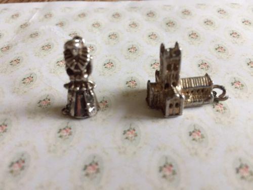 Vintage English Sterling Charm Lot Buckfast Abbey & Queen Elizabeth I Figure