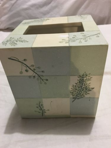 CROSCILL RAINIER TISSUE BOX COVER-TISSUE HOLDER---HAND PAINTED-GOOD CONDITION