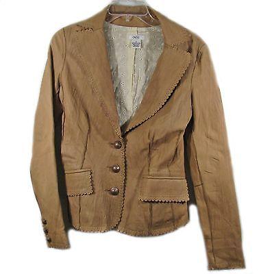 Women's Cache Tan Lambskin Leather Blazer Size 4--Price Reduced!