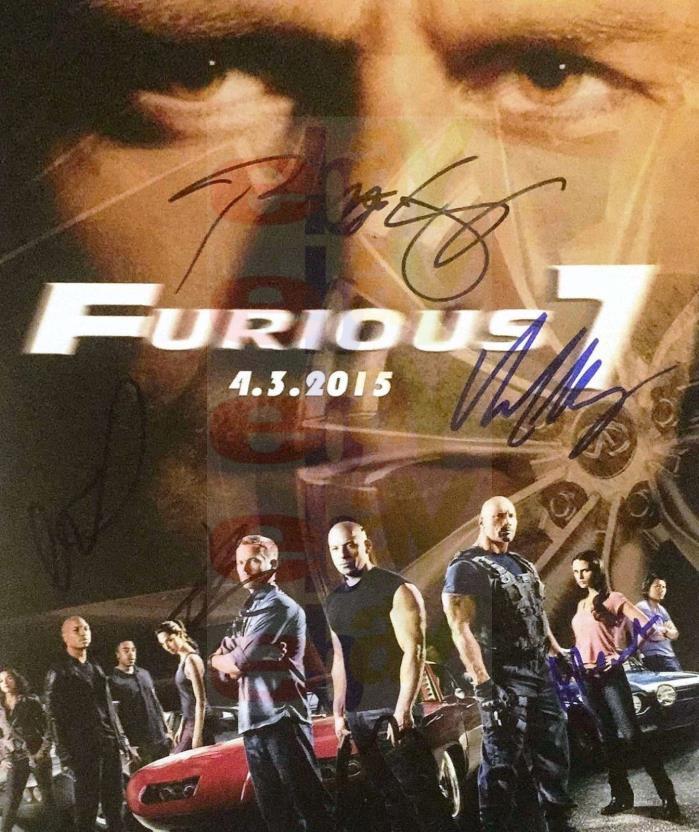 REPRINT RP 8x10 Signed Photo: Fast Furious 7 Cast Autographed Paul Walker Diesel