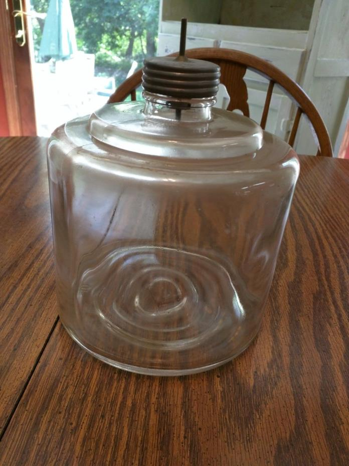Vintage Glass Jar/Bottle Fuel Oil Drip Dispenser/Reservoir~Kerosene Stove