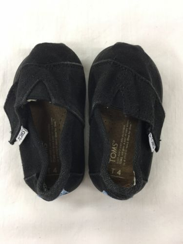 Toms Classic Infant/Toddler Boys Girls Black Shoes Toddler Size T 4