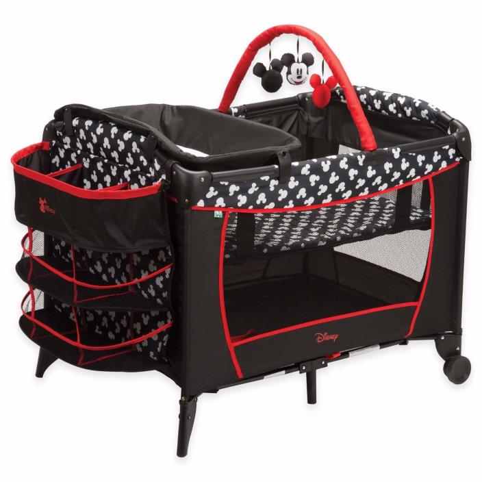 Disney Sweet Wonder Playard in Black White Red Mickey Mouse Bassinet Travel
