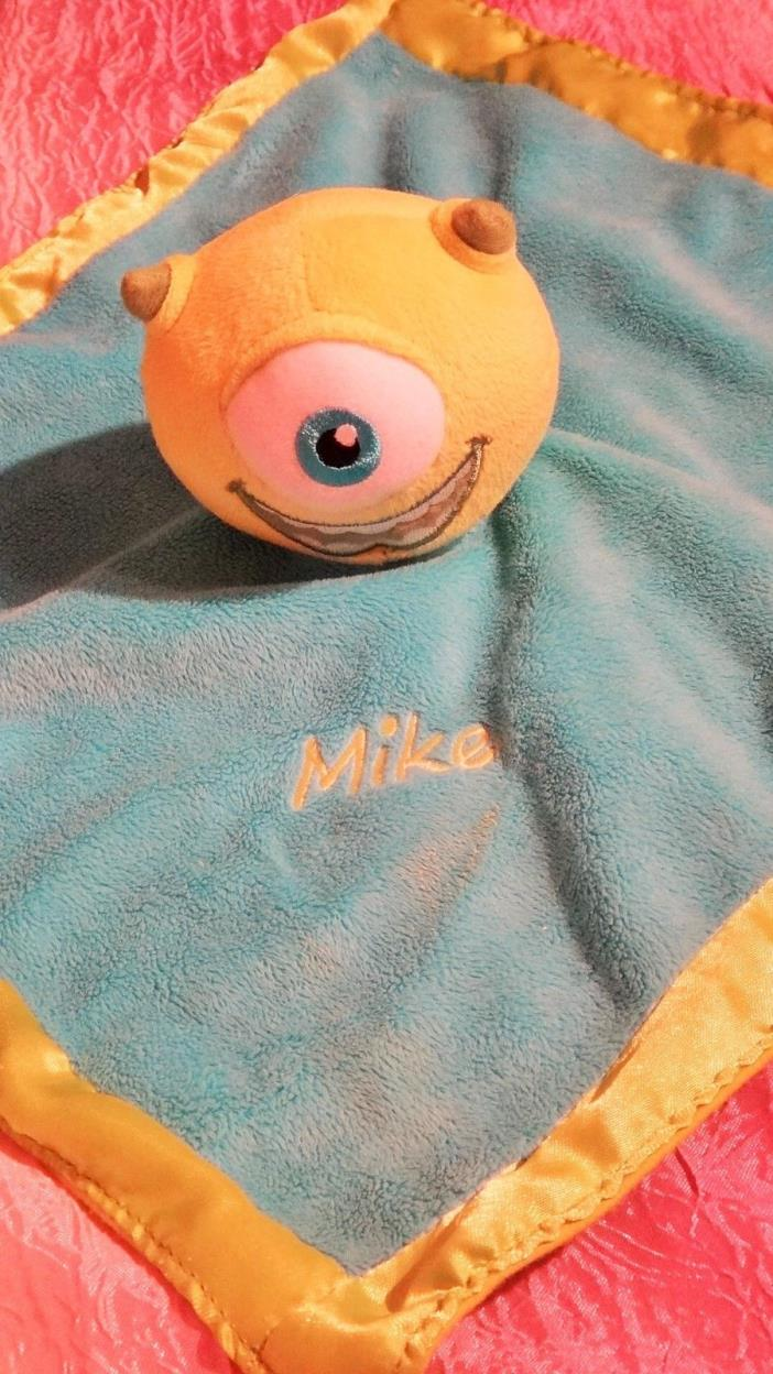 Disney Monsters Inc Mike Wazowski Baby Security Blanket Rattle RARE LOVEY