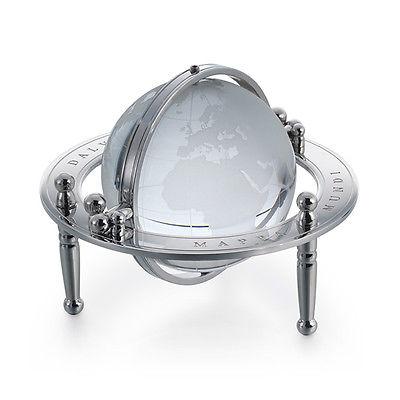 Dalvey Gimbal Desk Globe - Polished Stainless Steel Base - Crystal Glass