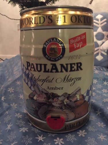 Nice Germany big beer can. PAULANER beer. Mini keg 5 liter. Gallon.