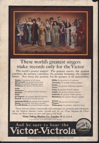 1911 VICTOR VICTROLA SINGER CARUSO HOMER FARRAR MUSIC 12438