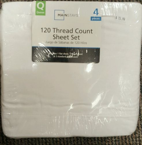 Mainstays 120 Thread Count Sheet Set, White, Queen