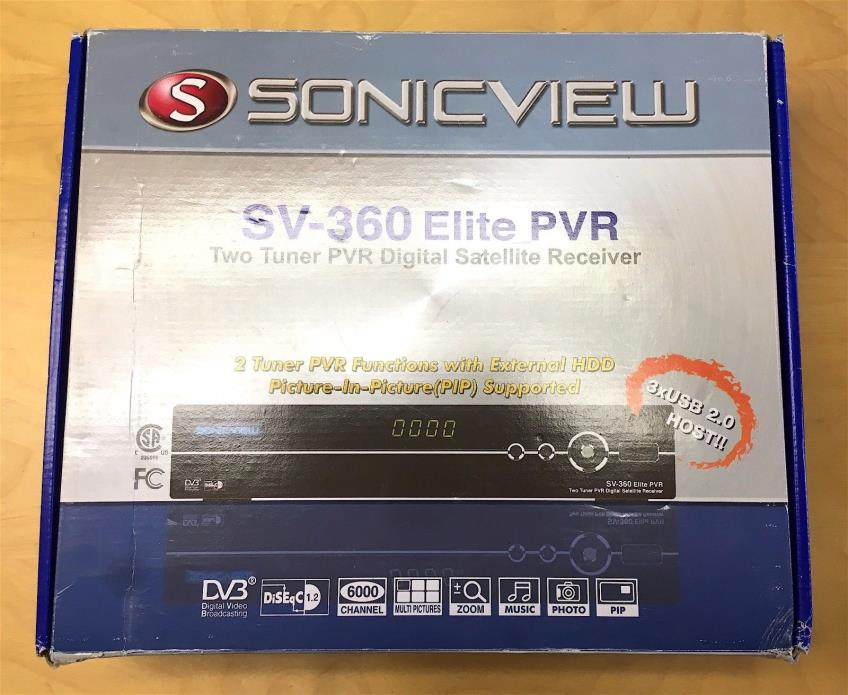 SONIC VIEW SV360 SV 360 ELITE FTA MINI PVR DIGITAL SATELLITE RECEIVER *Tested!*