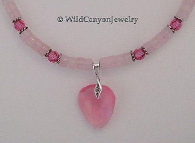 *Handmade* Swarovski Rose Rock Pendant Necklace with rose quartz heishi beads
