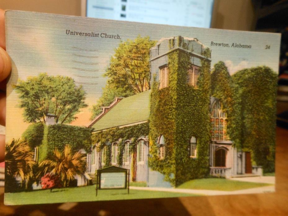 Vintage Old ALABAMA Postcard Brewton Universalist Church Bell Tower Ivy Vines