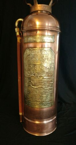Antique Geo. W. Diener Chicago Copper and Brass Fire Extinguisher [ RARE ]