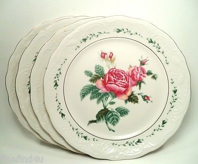 VICTORIAN ROSE Embossed  China by Gibson Designs Set(s) of 4 Dinner Plates