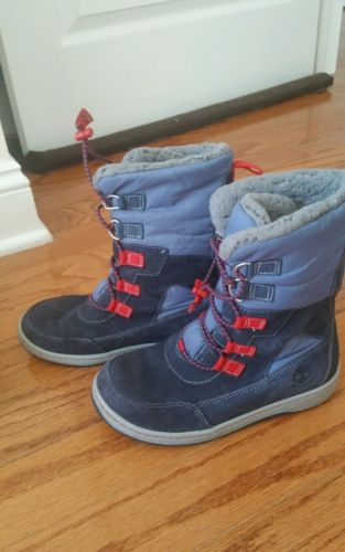 Timberland Winterfest Waterproof Boots Youth Boy/girl Size 3.5M, Navy with Red