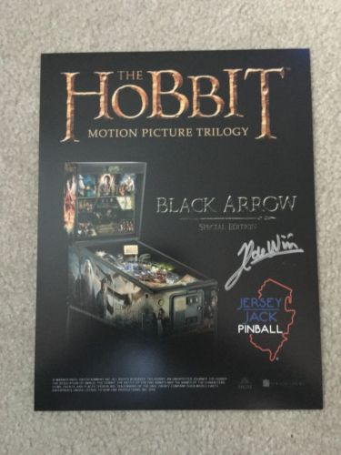 AUTOGRAPHED - The Hobbit Black Arrow Special Edition Pinball Flyer! Jersey Jack!