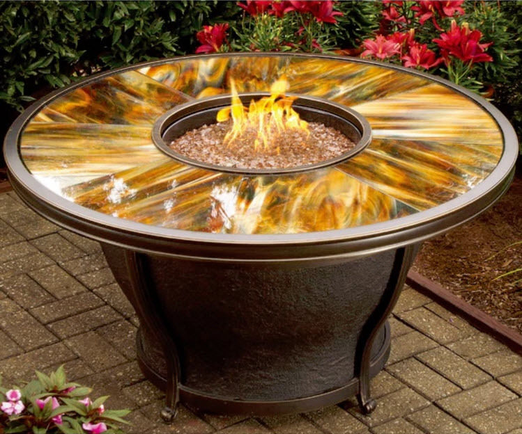Fire Pit Table Patio Porch Gas Heater Outdoor Round Furniture Backyard Fireplace