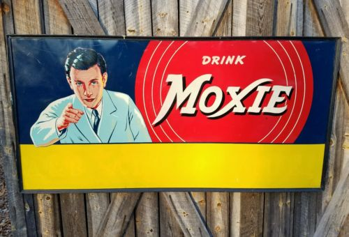 Rare 1950 Drink Moxie Soda Billboard sign. Reflective paint! 6ftx3ft. Original